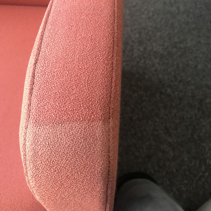 pink sofa arm rest cleaned